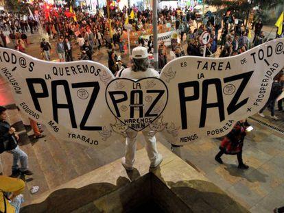 Una protesta en Bogotá.