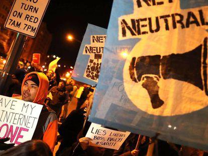 Protestas en Washington la pasada semana contra el fin de la neutralidad en la red.