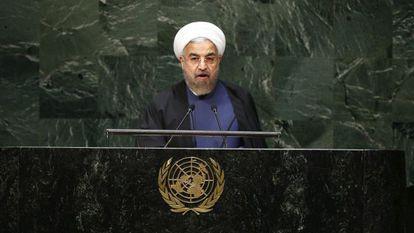 El presidente iraní, Hasán Rohani, ante la Asamblea General de las Naciones Unidas este jueves.