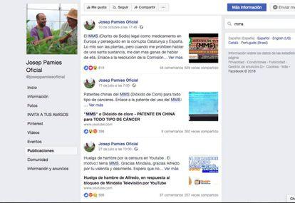 Facebook de Josep Pàmies promocionando la sustancia prohibida MMS.