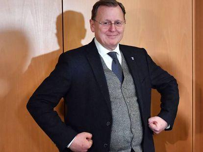 Bodo Ramelow, principal candidato del partido de izquierda Die Linke, este viernes en Erfurt.