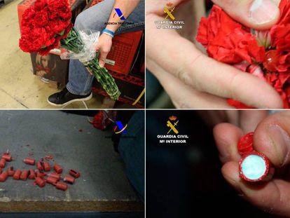 Cocaína oculta en los claveles procedentes de Ecuador.