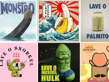 De izquierda a derecha y de arriba abajo: lávate el monstruo, de @imkrs.imagemakers; lávate el plátano, de @Davi.augusto.insta; lávate el palmito, de @marceu.lobo; lávate el snókel, de @_antonay; lávate el increíble Hulk, de @oagoru; y lávate el 'cowboy', de @marcelodilemos. |
