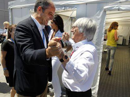 El entonces presidente Camps y Bernie Ecclestone, en Valencia en junio pasado.