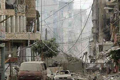 Edificios destruidos por la aviación israelí en sus bombardeos contra el sur de Beirut, de mayoría chií.