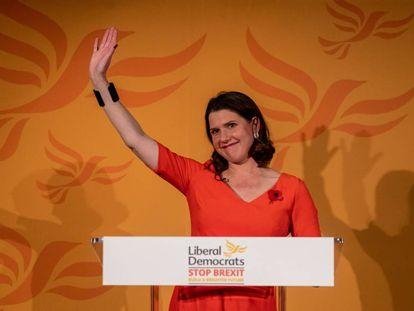 La líder del Partido Liberal Demócrata, Jo Swinson, presenta este lunes en Londres la campaña para las elecciones generales del 12 de diciembre.