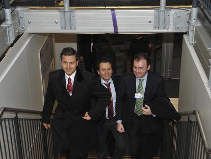 Enrique Peña Nieto, Emilio Lozoya y Luis Videgaray, de izquierda a derecha, en unviaje a Nueva York durante su Gobierno.