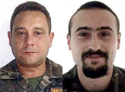 Fotografías de archivo del cabo primero Rubén Alonso Ríos (d) y el brigada Juan Andrés Suárez García (i), que han fallecido en el atentado perpetrado  en el sur de Herat (Afganistán)