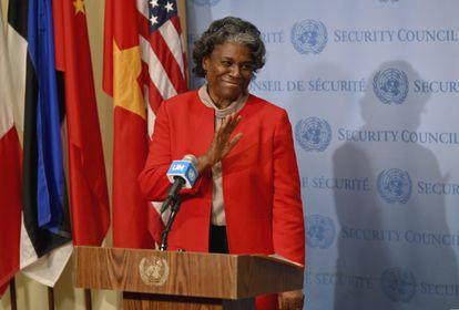 Linda Thomas-Greenfield, tras presentar sus credenciales como embajadora ante la ONU, el 25 de febrero de 2021 en Nueva York.