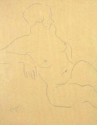 'Nu assegut', el sensual dibujo que realizó Togores durante su etapa parisina con lapiz sobre papel que se puede ver en la galería.