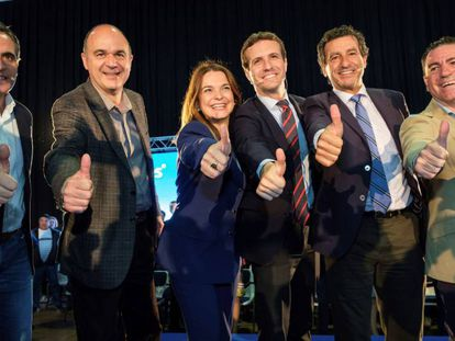 El presidente del PP, Pablo Casado, clausura un acto en Baleares. En vídeo, declaraciones de Casado.