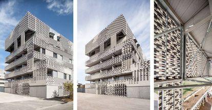 Tres imágenes de las viviendas construidas por Mateo para Toulouse.