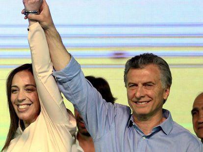 Mauricio Macri y Maria Eugenia Vidal celebran su victoria tras los resultados en las Elecciones Legislativas en Argentina