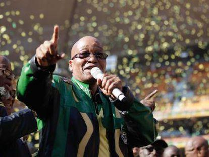 El presidente sudafricano, Jacob Zuma, en el Congreso Africano Nacional.