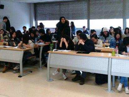 Una de las aulas del Máster de Investigación en Periodismo en la Universidad Complutense de Madrid.