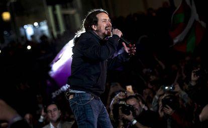 Pablo Iglesias reaparece en la precampaña de Podemos, en Madrid, el pasado 23 de marzo.