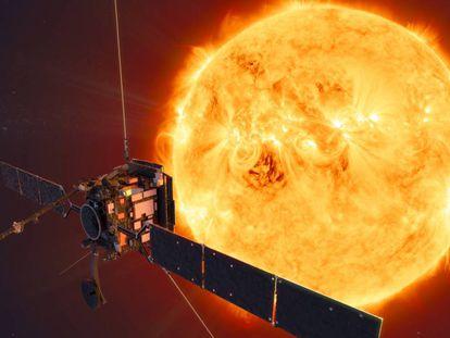 Recreación de la 'Solar Orbiter' en su acercamiento al Sol.