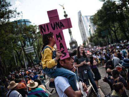 Manifestación contra la violencia machista, en Ciudad de México en 2016.