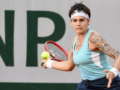 Bolsova, durante su partido de primera ronda en Roland Garros.