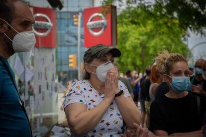 Los trabajadores de Nissan cortan la Gran Vía de L'Hospitalet (Barcelona) el 29 de mayo.
