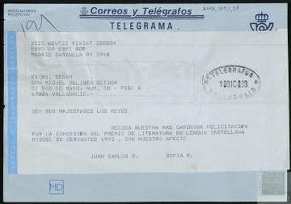 Telegrama de felicitación de los reyes por el Cervantes, en 1993.