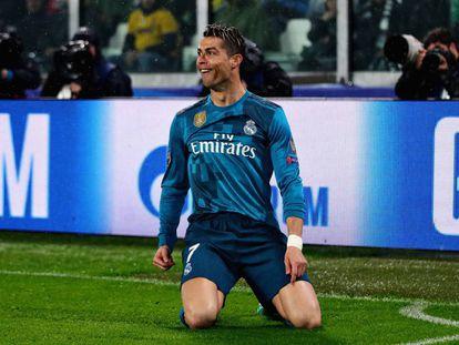 Cristiano Ronaldo celebra su gol en Turín.