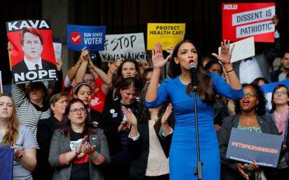 La candidata demócrata al Congreso Alexandria Ocasio-Cortez, en un acto de campaña.