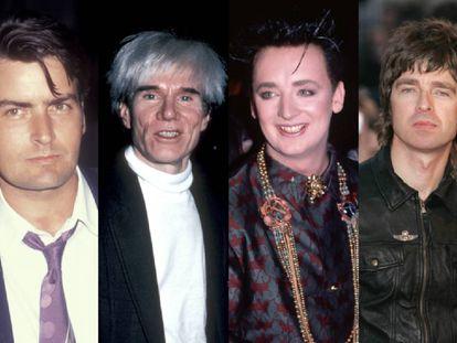 Charlie Sheen, Andy Warhol, Boy George y Noel Gallagher, cuatro ejemplos de famosos involucrados en ejercer la ofensa con arte.