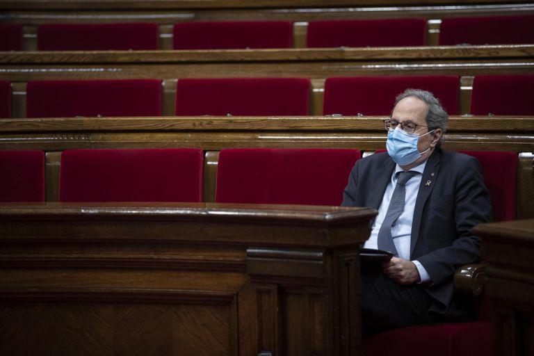 Quim Torra, en el Parlament, durante el pleno monográfico del pasado 7 de agosto.