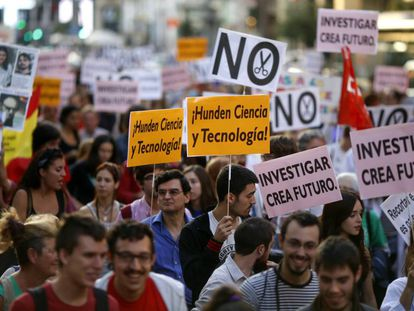 Manifestación en Madrid en contra los recortes en ciencia, en 2014.