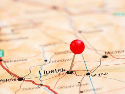 Mapa de Rusia con la ubicación de la ciudad de Lipetsk.