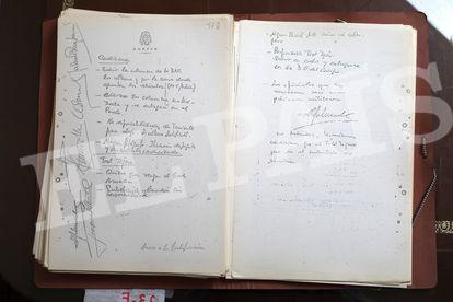 Papel donde se firmaron las condiciones para la rendición de Tejero y la salida del Congreso el 24 de febrero.