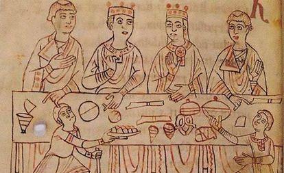 Matilde (segunda por la derecha), a los 11 años, en sus esponsales con el emperador Enrique V.