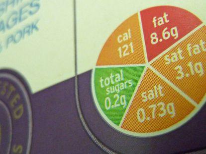 Una etiqueta nutricional tipo 'semáforo' en un paquete de salchichas.