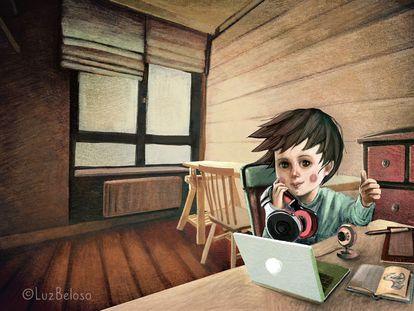 """""""Teño oito anos e quero ser youtuber"""", de Xoán Babarro e ilustración de Luz Beloso, editado por Galaxia. Imagen cedida por"""