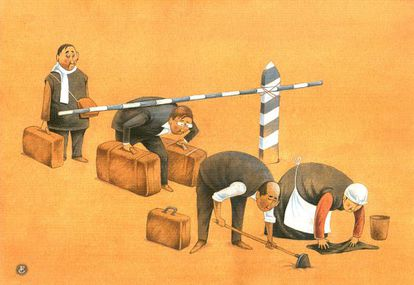 La viñeta ganadora del primer concurso de humor gáfico sobre derechos laborales, del dibujante kazako Galym Boranbayev.