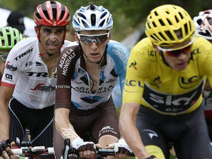 Contador, Bardet (c) y Froome (d) en el Tour.