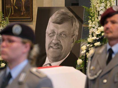 Imagen del funeral del político conservador asesinado Walter Lübcke el pasado jueves en Kassel, al oeste de Alemania.