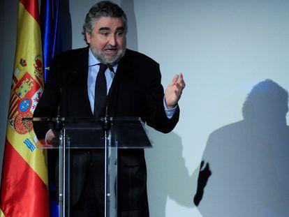 El exministro de Cultura, José Manuel Rodríguez Uribes, en marzo pasado durante la presentación del plan Spain Audiovisual Hub.