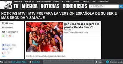 Anuncio del programa en la página web del canal de televisión MTV.
