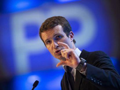 Pablo Casado en un momento de su intervención el sábado durante el congreso del PP.