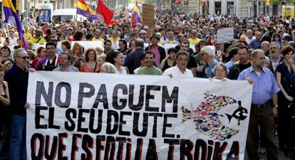 Manifestación contra la troika en Barcelona.