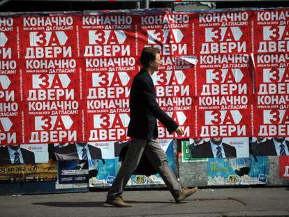 Propaganda electoral en una calle de Belgrado.