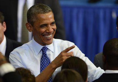 El presidente de Estados Unidos, Barack Obama, durante un acto de la campaña electoral del candidato demócrata al Senado Ed Markey, en Boston (Massachusetts).
