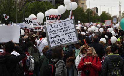 Pancarta durante la manifestación de la España vaciada.