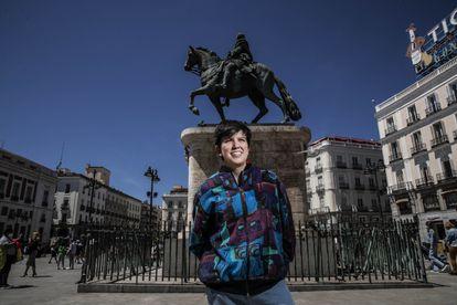 Clara Sánchez, activista del 15-M, el pasado viernes en Sol.