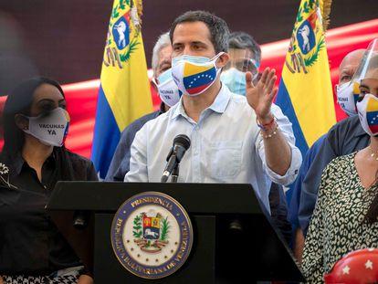 El opositor venezolano Juan Guaidó ofrece una rueda de prensa en Caracas, el pasado miécoles.