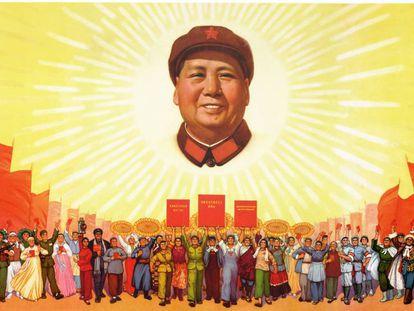 Cartel maoísta con la imagen de Mao Zedong.