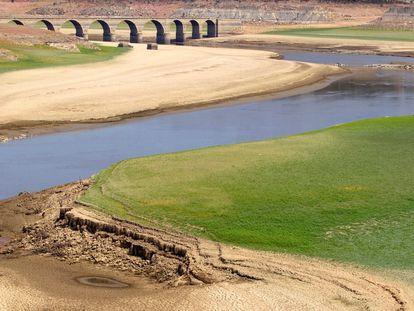 Embalse de Ricobayo, el mayor de los pantanos de producción hidroeléctrica de la provincia de Zamora, tras su vaciado.