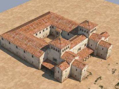 Reconstrucción en 3D del palacio de Teodorico.